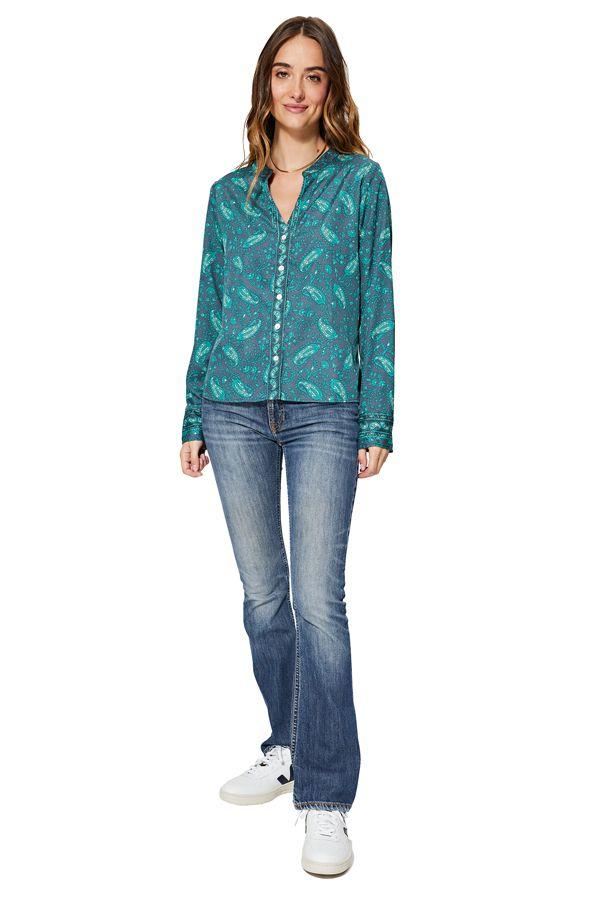 Chemise à col mao pour femme bleue ethnique Maélie