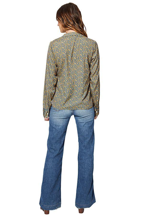 Chemise à col mao pour femme couleur claire hippie Jade