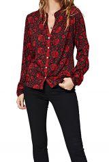 Chemise à col mao pour femme rouge et noire tendance Stella
