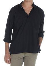 Chemise en coton pour homme avec col à boutons noire Dylan 295847