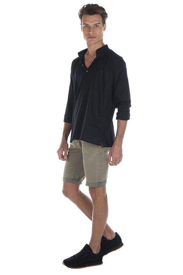 Chemise en coton pour homme avec col à boutons noire Dylan 295848