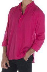 Chemise en coton pour homme avec col à boutons rose Jake 295829
