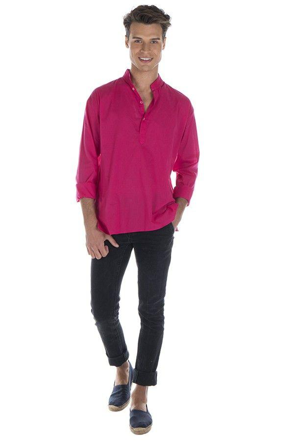 Chemise en coton pour homme avec col à boutons rose Jake 295830