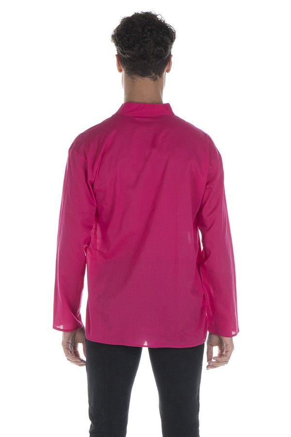 Chemise en coton pour homme avec col à boutons rose Jake 295831