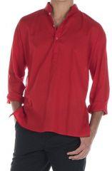 Chemise en coton pour homme avec col à boutons rouge Damon 295835