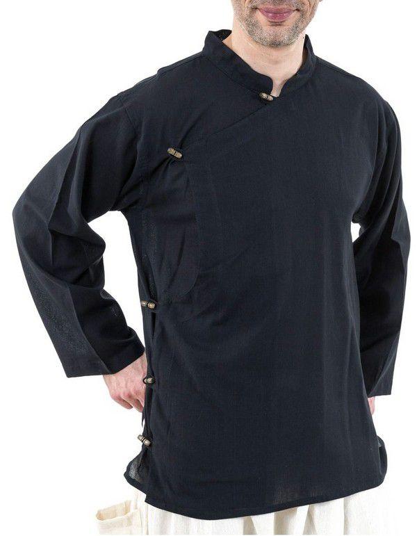 Chemise ethnique grande taille original en coton noir Miang 303238