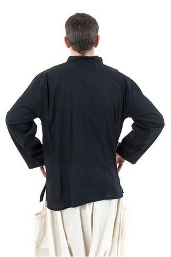 Chemise ethnique grande taille original en coton noir Miang 303239
