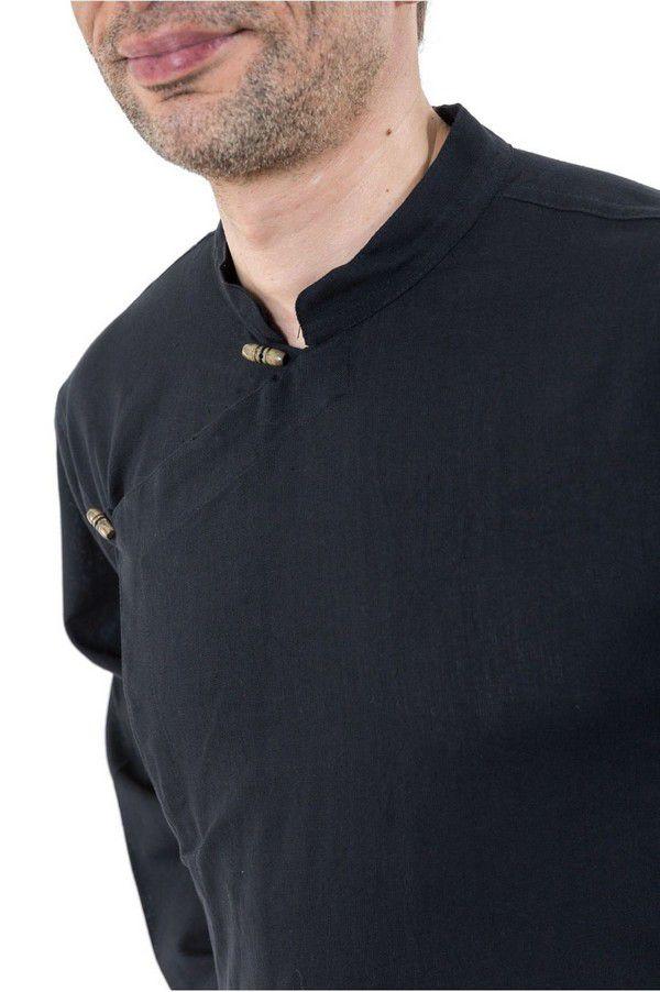 Chemise ethnique grande taille original en coton noir Miang 303240