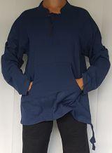 Chemise ethnique Koweït uni bleue marine en coton pour homme