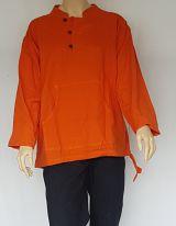 Chemise ethnique Koweït uni Orange en coton pour homme
