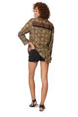 Chemise femme classe avec col mao et motifs ethnique chic Maren