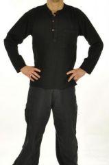 Chemise homme mao népalaise noire 243619