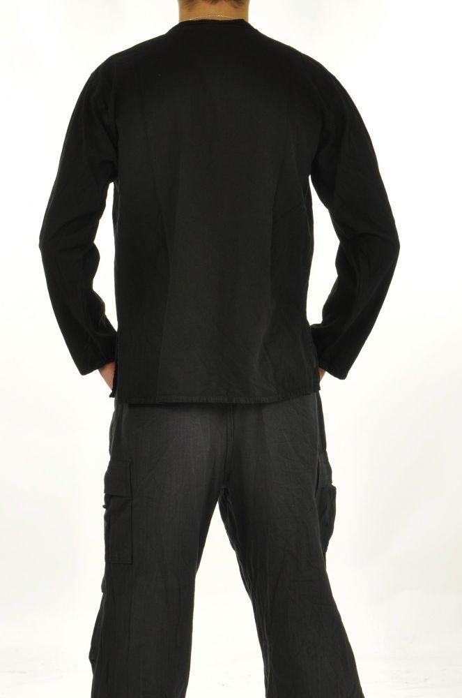 Chemise homme mao népalaise noire 252698