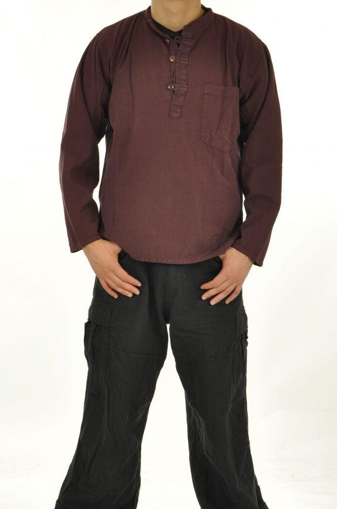 Chemise homme mao népalaise prune 243620