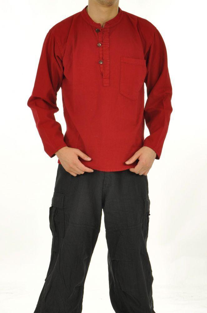 Chemise homme mao népalaise rouge 243618