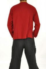 Chemise homme mao népalaise rouge 252697