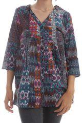 Chemise longue avec imprimés patchworks ethniques Valencia 297690