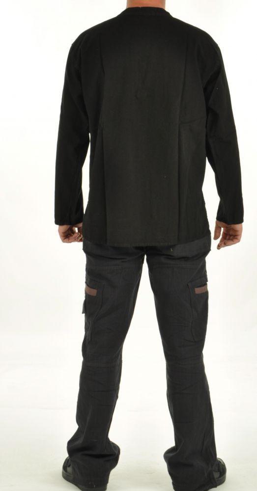 Chemise népalaise col lacet noire 254719