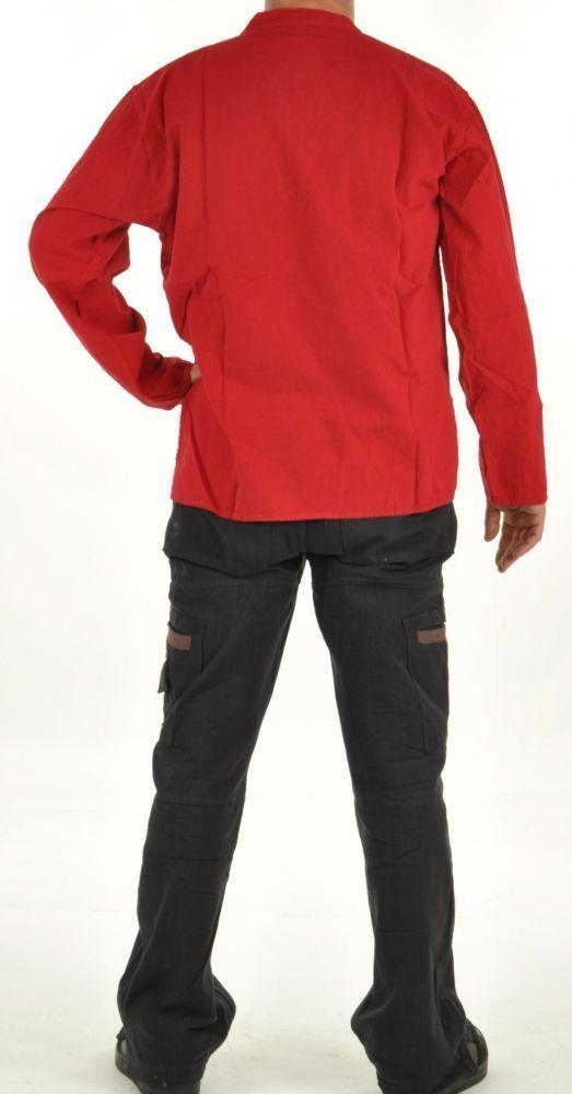 Chemise népalaise col lacet rouge 254717