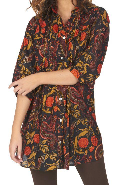 Chemise noire pour femme style tunique imprimée Keniala