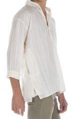 Chemise pour homme 100% coton avec imprimé verticale blanche Jared 295816