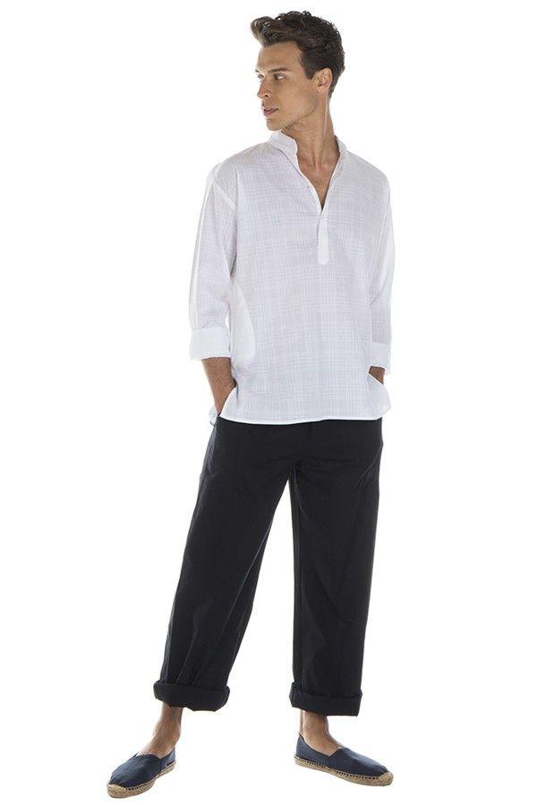 Chemise pour homme à manches longues élégante blanche Joshua 295820