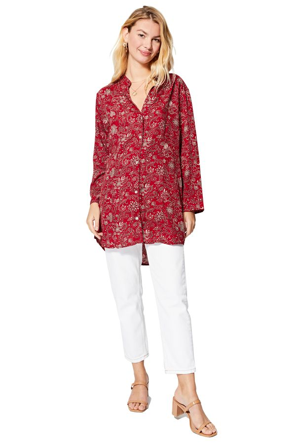 Chemise rouge femme été classe avec motifs fleurs chic pas cher Margit