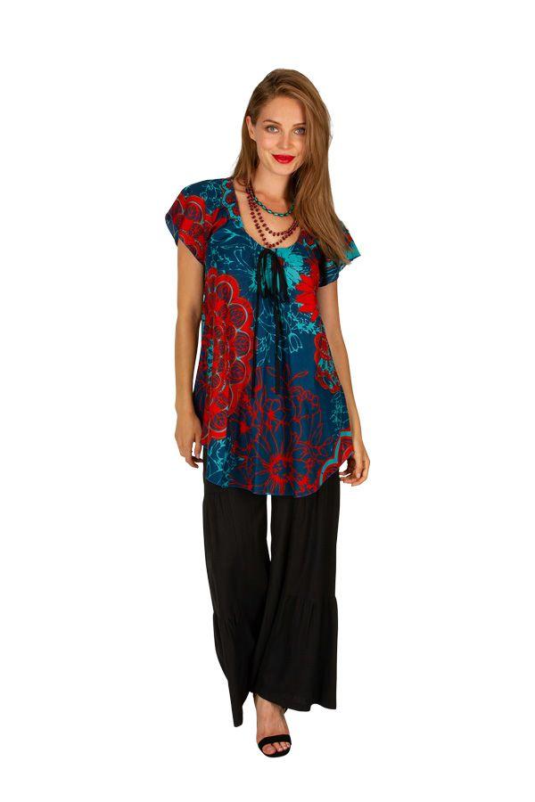 Chemisier avec un imprimé floral pour un look ethnique Janie 306237