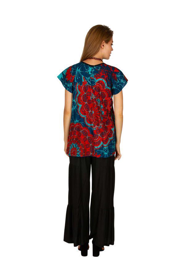 Chemisier avec un imprimé floral pour un look ethnique Janie 306238