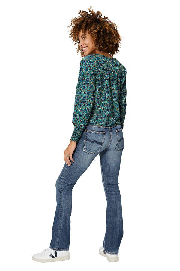 Chemisier femme à manches longues couleur bleue Mélanie