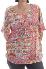 Chemisier kimono col carré avec ceinture élastiqué à la taille Myrtille 297830