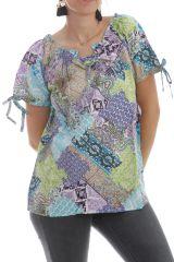 Chemisier Turquoise à manches courtes Ethnique et Patchwork Paul 297648