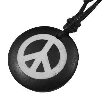 Collier avec pendentif en résine imitation os logo peace and love 246685