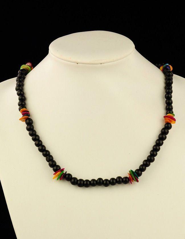 Collier de perles en bois et coquillage neck noir 256222