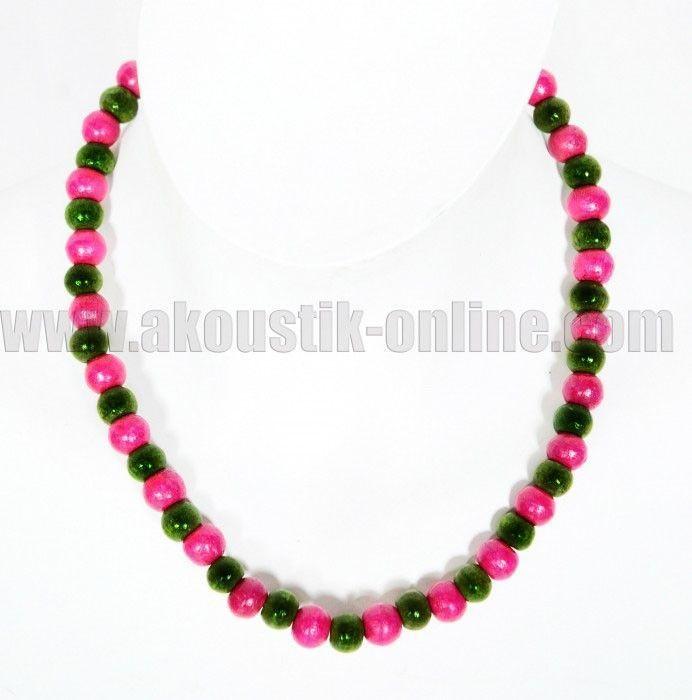 Collier de perles en bois Vert Foncé/Rose 239038