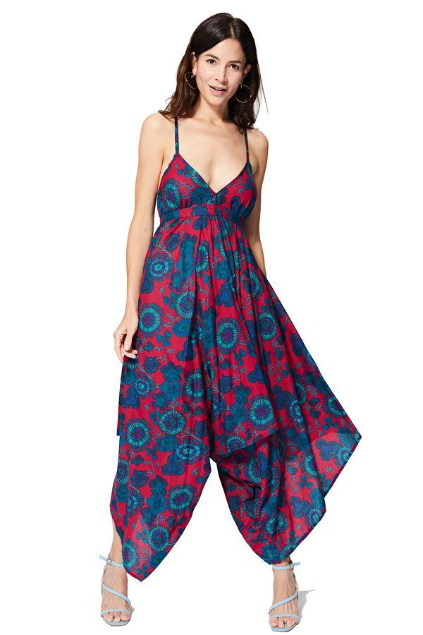 Combi pantalon femme asymétrique imprimé fleurs bohème Akie