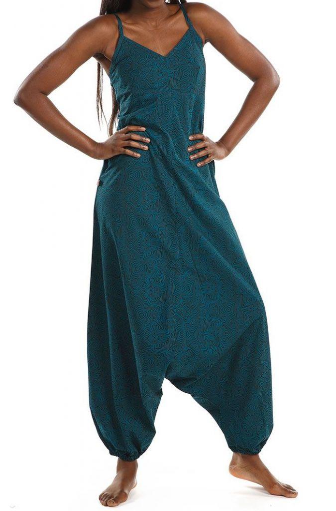 Combi-sarouel imprimé ton bleu pour femme Malinda 305592