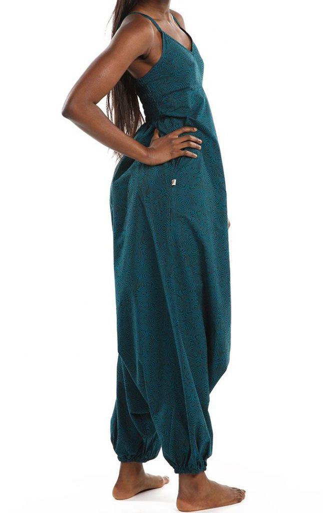 Combi-sarouel imprimé ton bleu pour femme Malinda 305594