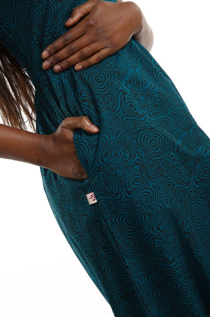 Combi-sarouel imprimé ton bleu pour femme Malinda 305595
