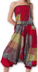 Combi-Sarouel pour femme d'été Ethnique et Coloré Any Rouge et Gris 276675