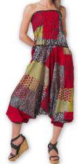 Combi-Sarouel pour femme d'été Ethnique et Coloré Any Rouge et Gris 276676