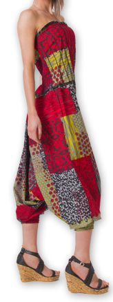 Combi-Sarouel pour femme d'été Ethnique et Coloré Any Rouge et Gris 276677