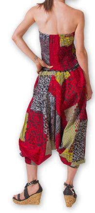 Combi-Sarouel pour femme d'été Ethnique et Coloré Any Rouge et Gris 276678