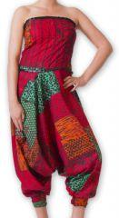 Combi-Sarouel pour femme d'été Ethnique et Coloré Any Rouge et Vert 276671