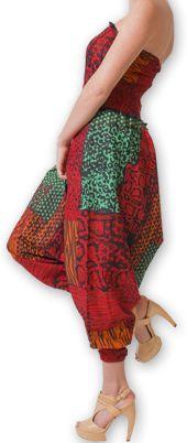 Combi-Sarouel pour femme d'été Ethnique et Coloré Any Rouge et Vert 276673