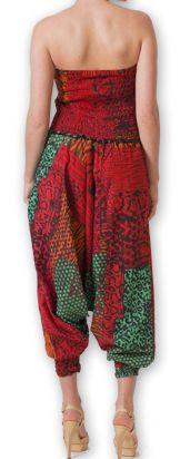 Combi-Sarouel pour femme d'été Ethnique et Coloré Any Rouge et Vert 276674