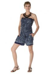 combinaison bustier coupe short originale avec motifs style indien bleuetés Rana 288889