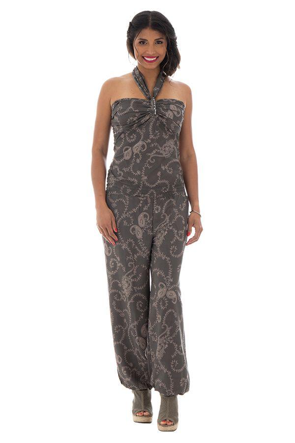 Combinaison pantalon avec imprimés ethniques grise Mandoline