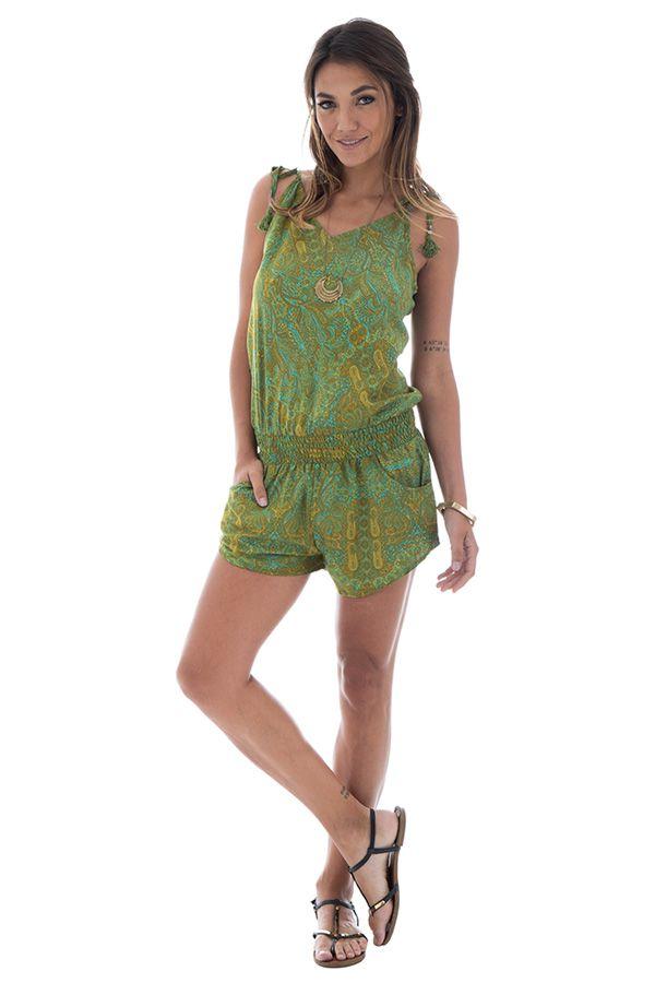 Combinaison courte verte avec motifs originaux et bretelles Sélénia 289183