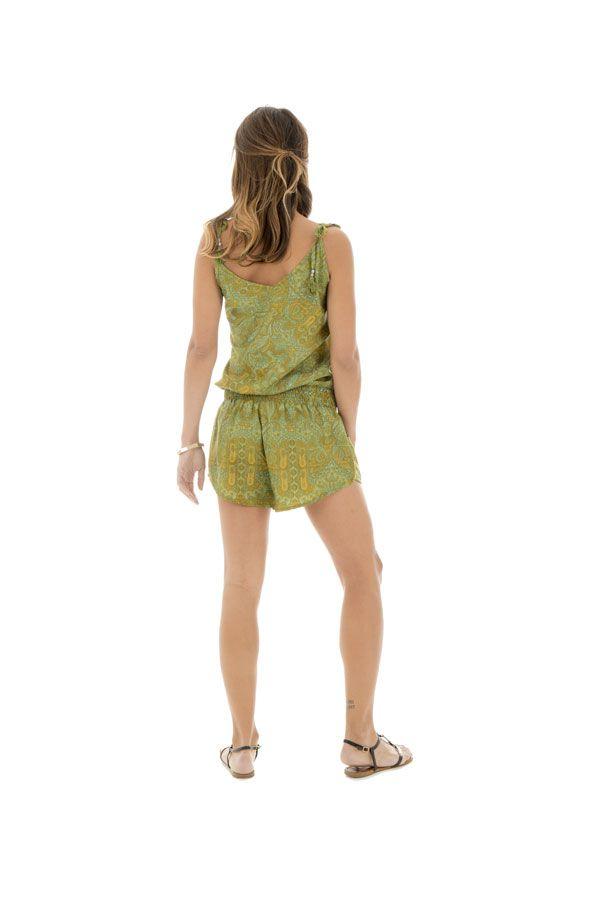 Combinaison courte verte avec motifs originaux et bretelles Sélénia 289184